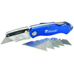 Folding Locking Back Utility Knife Comes With 5 High Quality, Super Sharp, Stainless Steel Replacement Blades