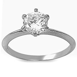 Round Cut Clear Cz With Knife Edge Band Stainless Steel Ring - Size 10