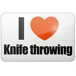 "Metal Sign I Love Knife Throwing, Large 12X18"" - Neonblond"