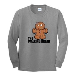 Gingerbread Zombie Youth Long Sleeve T-Shirt Large Sport Grey