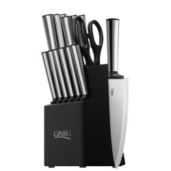 Ginsu 05253 Koden Series Serrated Stainless Steel Ever Sharp 14-Piece Block Cutlery Set, Black