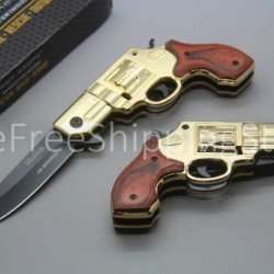Tac Force Silver Gun Gold With Black Aluminum Revolver Handle And Red Wood Overlay 440 Black Stainless Steel Blade