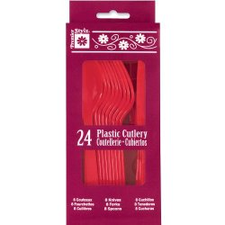 Unique Red Plastic Cutlery Set For 8