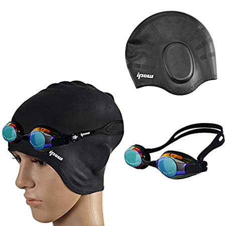 Swim goggles and waterproof cap set,perfect match with a 100% Satisfaction Money Back Guarantee  Package: 1 X 1pcs Swim cap 1 X 1pcs Swmming Goggles Note: Avoid and sharp objects, really far away from the fire source; After use, can ...