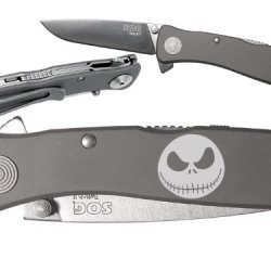 Jack Skellington Head Custom Engraved Sog Twitch Ii Twi-8 Assisted Folding Pocket Knife By Ndz Performance