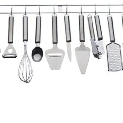 Vonshef 12 Piece Stainless Steel Kitchen Utensils & Gadget Set With Utensil Hanging Rack / Bar / Holder