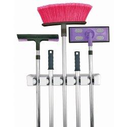 Xcellent Global 5 Position Mop Broom Holder Hanger Organizer Wall Rack M-Hg022