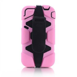 Meaci® Iphone 4/4S 4 In 1 Pink Defender Body Armor With Tpu Clip Against Shocks Hard Case