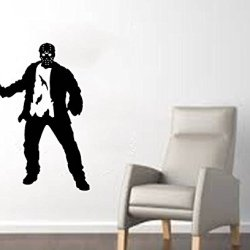 "Jason Voorhees (Friday The 13Th) With Machete Halloween Wall Decal- Black (22""W X 29""H)"