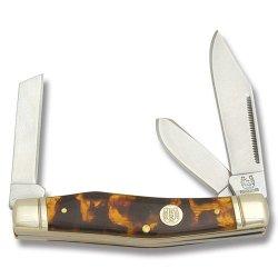 Rough Rider Knives 885 Reverse Gunstock Stockman Pocket Knife With Imitation Tortoise Shell Celluloid Handles