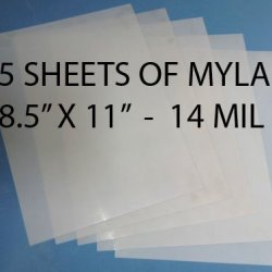 """Heavy Duty 14Mil Mylar Stencil Sheets - .014"""" Thick Polyester Sheet 8.5"""" X 11"""" (5-Pack)"""