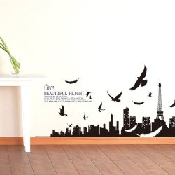 90*60Cm Eiffel Tower Birds Paris Scenery Wall Decals Sticker Decor Removable Art[Top-Me]-2217