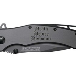 Death Before Dishonor 3L Engraved Tac-Force Tf-820Gy Speedster Model Folding Pocket Knife By Ndz Performance