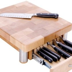 Miu France Maple Cutting Board With 7-Slot Knife Drawer, Natural