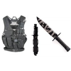 Ultimate Arms Gear Stealth Black Lightweight Edition Tactical Scenario Military-Hunting Assault Vest W/ Right Handed Quick Draw Pistol Holster + Tigerstripe Tiger Stripe Special Forces Stainless Steel M9 M-9 Military Sawback Survival Blade Bayonet Knife W