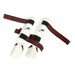 Playwell Martial Arts White Elite Vinyl 3 In 1 Shin & Instep Foot Pads - Small