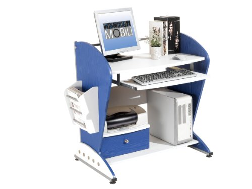 Picture of Comfortable Mad Tech 36x24x40 Blue & White 100% Mdf Construction Computer Office Desk Table (B004W0MDFY) (Computer Desks)