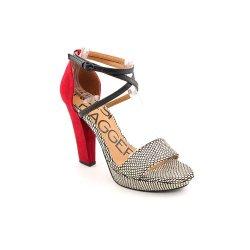 Kelsi Dagger Women'S Mackenna Ankle-Strap Sandal,White/Red/Black,8 M Us