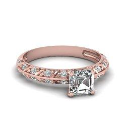 Fascinating Diamonds 0.80 Ct Asscher Cut Diamond Knife Edge Engagement Ring Double Row Pave Set Vs1-G Gia