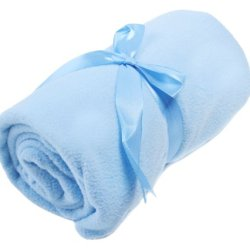 Set Of 3 Baby Care Gift - Blue Blanket W/ Ribbon Tie, Beanie Cap, Diaper Bag Set