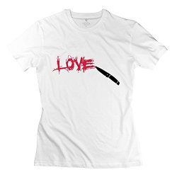 Love Knife Scratched Funny Woman'S T Shirts Small White