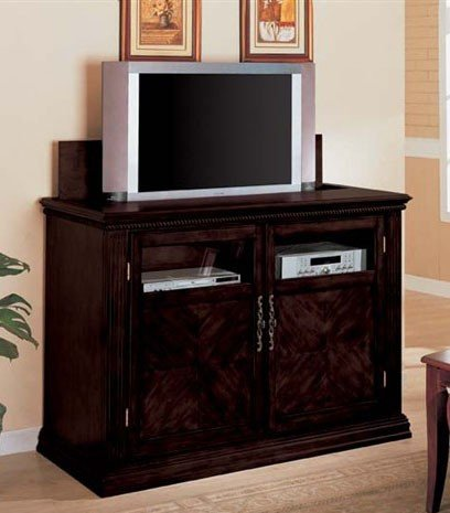 Image of Entertainment Console Table with TV Lift Espresso Finish (VF_AM2037)