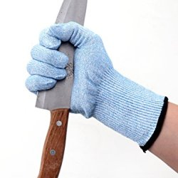 1 Pair Of Cut Resistant Gloves With Ce Level 5 Protection - Safety For Home And Work - Kitchen Knives, Butcher, Glass Handling - Stronger Than Leather - Lifetime Guarantee (Full Size, Blue)