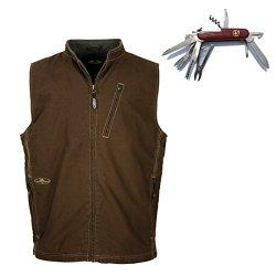 Arborwear Men'S Bodark Vest - With Free 14 Function Pocket Knife (L, Chestnut)
