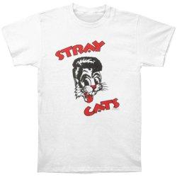 Stray Cats Men'S 2-Line Logo White T-Shirt Large White