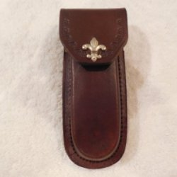 "Brown 5"" Leather Knife Sheath. Decorative Fleur-De-Lis Snap - Case - Boy Scout Theme."