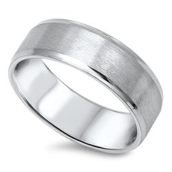Knife Edge Matte Finish Band Ring 7Mm Stainless Steel Size 10