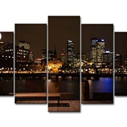 5 Piece Wall Art Painting Sydney At Night Prints On Canvas The Picture City Pictures Oil For Home Modern Decoration Print Decor For Bedroom