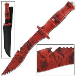 Master Survival Outdoor Hunter Red Camo Bowie Knife