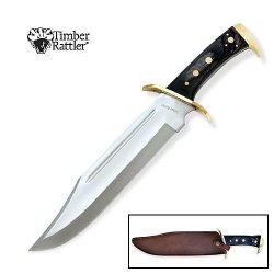 Timber Rattler Western Outlaw Bowie Knife With Brass Plated Guard.