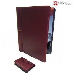 Swissgear Leather Portfolio & Card Wallet 2-Piece Set Red