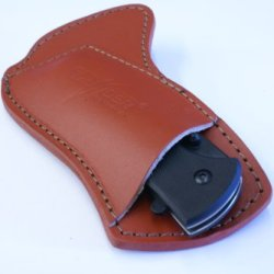 Cross Draw Custom Leather Knife Sheath, L.H. - Natural Leather - Thunder Basin Knives