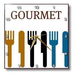 Dpp_44687_1 Patricia Sanders Creations - Gourmet Fork And Knife- Dining- Dinner Art - Wall Clocks - 10X10 Wall Clock