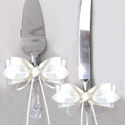 Ivory Satin Bow Ribbon Cake Knife And Server Set For Wedding Or Ceremony