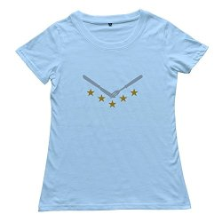 Printed Women'S Knife Fork T Shirts Skyblue Size L