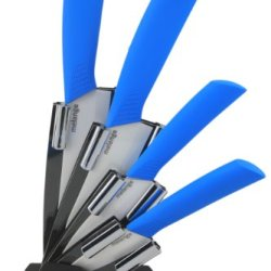 Melange 5-Piece Ceramic Knife Set With Blue Handle And White Blade, Includes 6-Inch Chef'S Knife, 5-Inch Santoku Knife, 4-Inch Utility Knife, 3-Inch Pairing Knife And Acrylic Holder