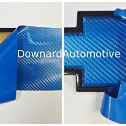 "Chevy Bowtie Emblem Vinyl Blue Carbon Fiber Decal (Overlay) You Cut From (2) 11"" X 4"" Universal Rectangular Sheets - Wrapping Instructions Included - Customize Your Silverado Camaro Cruze Equinox Etc."