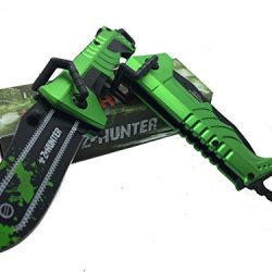 Z - Hunter With Green Splash Logo On Blade Black Stainless Steel Blade Knife - Chainsaw Green/Black Handle