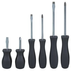 """""""Abc Products"""" - 6-Piece Magnetic-Tip ~ Screwdriver Set - With Square Easy Grip Handle (Contains [3] Slotted Size: 3 /16 In, 1/4 In, And 1/4 In Stubby --- [3] Phillips Size: #1 , #2, And #2 Stubby)"""