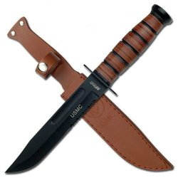 "12"" Long Usmc Licensed Combat Style Stainless Steel Blade W Leather Sheath"