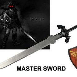 """1:1 Full Size Large 37.5"""" Dark Link'S Master Sword From The Legend Of Zelda With Plaque"""