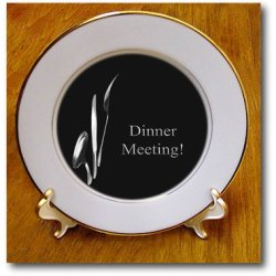 Cp_43330_1 Beverly Turner Business Design - Dinner Meeting, Spoon Knife And Fork On Black, Business - Plates - 8 Inch Porcelain Plate
