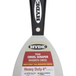 Hyde Tools 02600 4-Inch Xtra Heavy Duty Stiff Chisel Scraper, Black And Silver