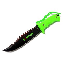 "New 9"" Zombie-War Stainless Steel Hunting Knife With Neon Green Handle 8268"