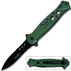 Tiger Usa Spring Assisted Knife - 3 Inch Blade - 7.5 Inch Overall Length - Lightweight German Steel - Steel Handle - Liner Lock - Deep Carry Pocket Clip (Army Green)