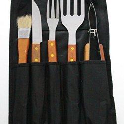 Justnile 5-Piece Stainless Steel Bbq Utensil Tool Set - Wood Handles W/ Carrier
